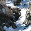 """A small """"cascade"""", or waterfall, amidst the snow. It was very picturesque."""