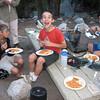 The boys enjoying their spaghetti dinner Tuesday evening.
