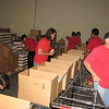 Our job was to pack boxes of food for shipping to the needy.