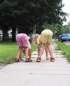 Katys and Andula heading to the playground at Hiawatha, summer 2004.
