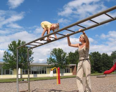 Katys and Andula, playground at Hiawatha, summer 2004.