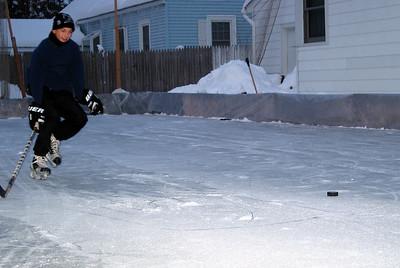 Mike at the backyard skating rink, January 2003.