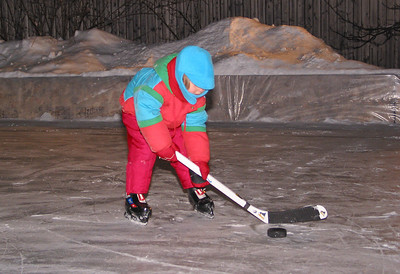 Anna at the backyard skating rink, January 2003.