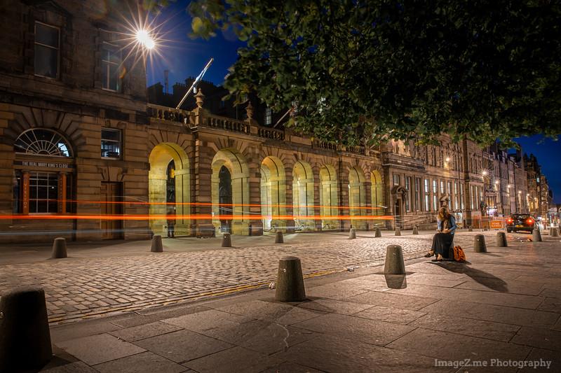 Midnight street in Edinburgh during summer