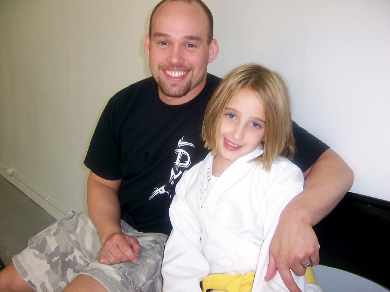 Jory and Hannah after her Yellow Belt Testing.