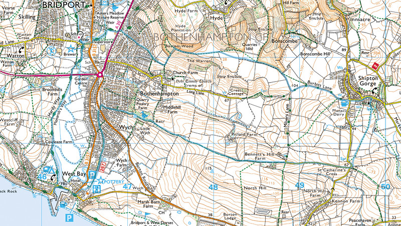 The route walked is shown in blue and we went in a clockwise direction