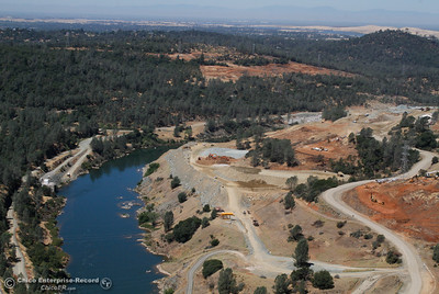 A view of the Feather River and Spillway construction site from the Oroville Dam Friday July 7, 2017 in Oroville, California.  (Emily Bertolino -- Enterprise-Record)