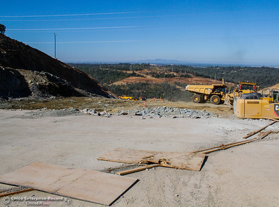 The top of the Spillway provides a staging area for equipment Friday July 7, 2017 in Oroville, California.  (Emily Bertolino -- Enterprise-Record)