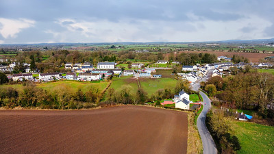 17th March 2021: Picture of Killavullen Village, Co. Cork, viewed from the South, showing St Nicholas Church and Ballymacmoy House. Photo by Sean Jefferies Photography.