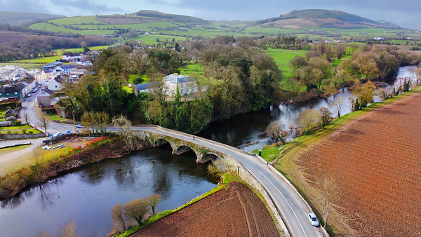 17th March 2021: Picture of River Blackwater and Bridge and Killavullen Village, Co. Cork, viewed from the North of River, showing the Nano Nagle walk along the North Bank and Ballymacmoy House on Southern Bank. Photo by Sean Jefferies Photography.