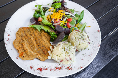 Country Fried Steak with Mashed Potatoes and Salad