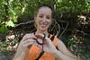 Kim holding her first snake: a ringneck snake