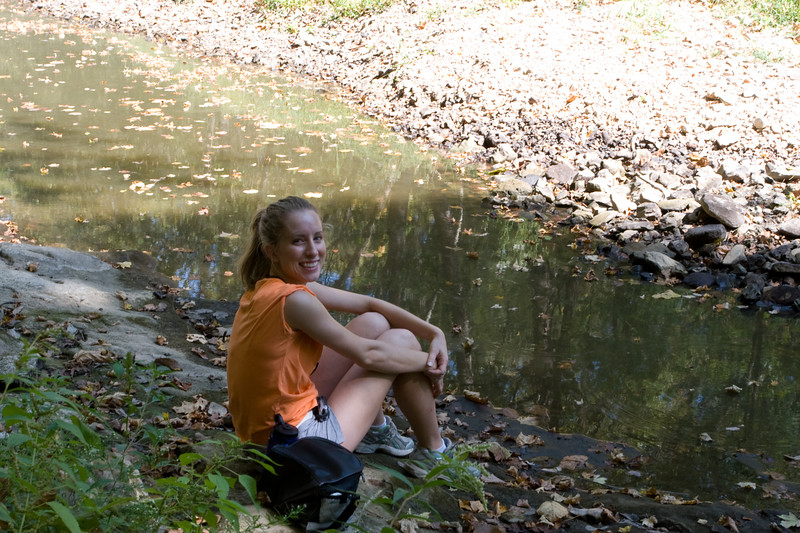 Sitting by a creek before our picnic