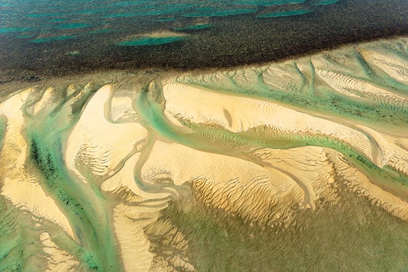 Vue aérienne du récif Montgomery au centre de Collier Bay. Australie Occidentale/Australie