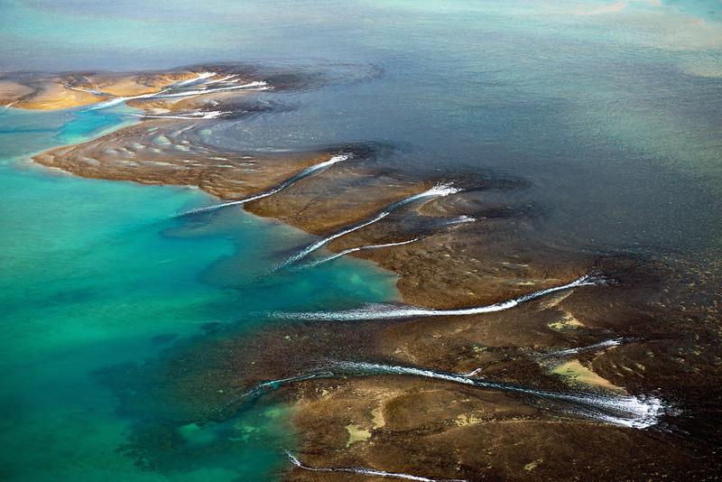 Vue aérienne du récif Montgomery au centre de Collier Bay. Kimberley/Australie Occidentale/Australie