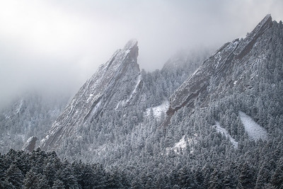 The Mighty Flatirons In Snow