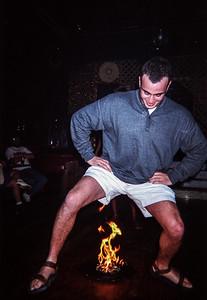Tourist fire dancer