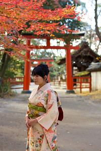 Young Japanese in Front of Shinto Shrine Entrance  With Kimono, Autumn Foliage