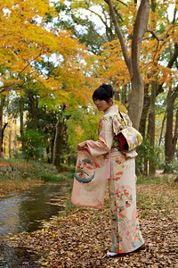 Young Japanese posing in long-sleeve Kimono at Riverside  With colorful Autumn Foliage