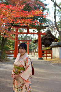 Young Japanese in Kimono visiting Shinto Shrine