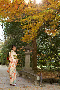 Young Japanese dressed in long-sleeve Kimono  Posing on a Bridge in Autumn