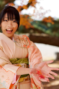 Beautiful Young Japanese Woman in Kimono laughing with Momiji leafs in her Palms
