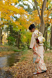 Kimono Girl at Riverside with Autumn Foliage