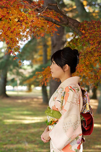 Kimono Girl in Profile  Beautiful Young Japanese Woman in Kimono with Autumn Foliage