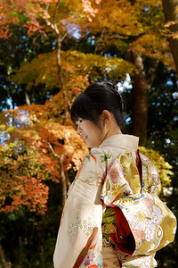 Young Woman in Kimono  Showing Obi in Front of Autumn Foliage
