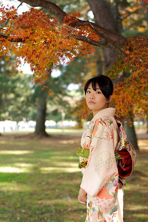 Kimono Girl in Autumn<br /> <br /> Beautiful Young Japanese Woman in Kimono with Autumn Foliage earnest look