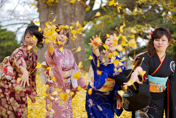 Kimono group having fun
