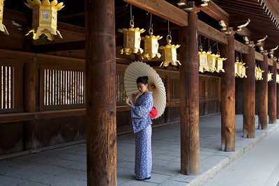 Kimono Girl under Lanterns in Wooden Corridor  Posing in Temple Building with Parasol