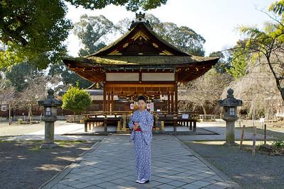 Kitano Tenmangu Shrine in Kyoto in Spring  Japanese Girl in Front of Temple Building