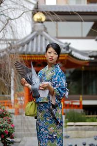 Beautiful Japanese with Kimono  At Rokkakudo Temple in Kyoto