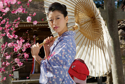 Going Outside on a Walk in Spring  Japanese Lady in Kimono with Parasol and Plum Blossoms