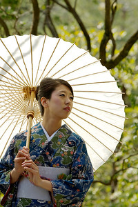 Beautiful Woman with Kimono  Japanese World Cultural Heritage Kinkaku-ji Temple in Kyoto