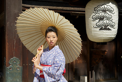 Kimono Girl with Parasol and Paper Lantern