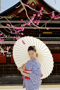 Beautiful Woman with Kimono  Posing with Parasol in Front of Temple