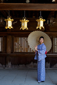 Japanese Girl in Kimono  Under Lanterns in a Temple Corridor