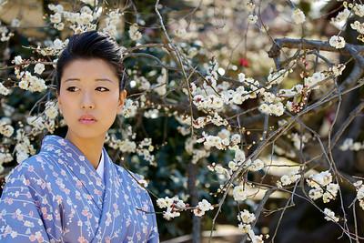 Kimono Girl Portrait with Spring Blossoms