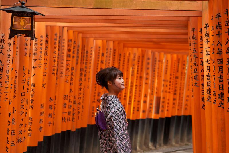 Cute Girl in Kimono at Fushimi-inari Shrine