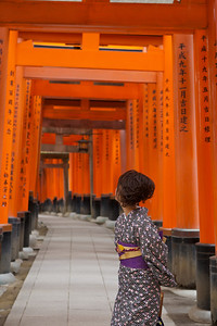 Cute Girl in Kimono at Fushimi-inari Shrine