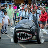 Jay Hungate of Lowell gets ready to ride the Iconic Flying Fish through the Mud Obstacle at the first Kinetic Race in Lowell. SUN/Caley McGuane
