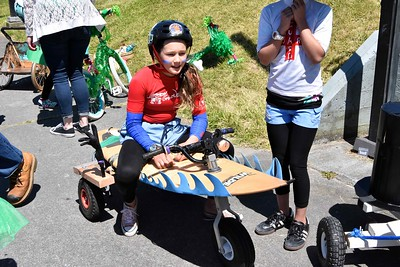 Rogue Russell, 11, is part of the Unlikely Friends crew that participated in the Kinetic Classic on Sunday at Sacco Amphitheater on the Eureka waterfront. (Jose Quezada - For the Times-Standard)