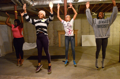 Tania Barricklo-Daily Freeman                      Some of the dancers go through a dance routine for the upcoming talent show. From left are Coreographer Codi Childs, Lauren Townsend, Hale Chaffin, and Jocelyn Childs.