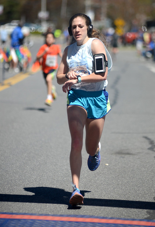 . Tania Barricklo- Daily Freeman  Hannah Schmitt came in second in the female division of the Kingston Classic 10K.