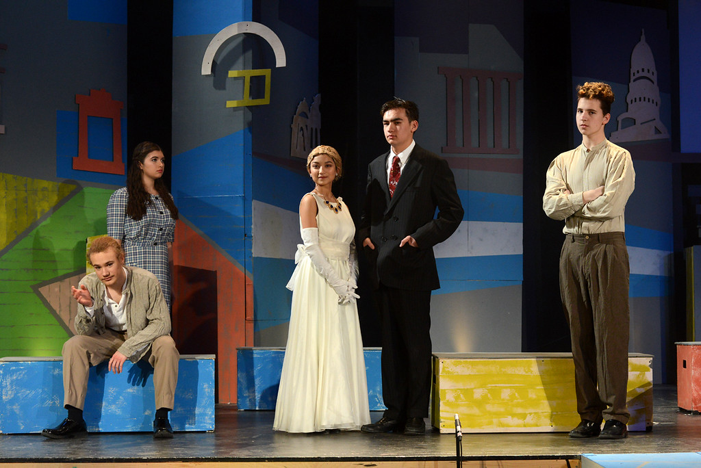 . Tania Barricklo-Daily Freeman    Evita main characters, from left, Jackson Speller as Che, Micayla Shafran as the Mistress, Mealea Van Denburg as Eva Peron, Mactier Freeman as Juan Peron and Dashiell Hunold as Magaldi.