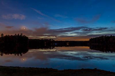 Waxing Crescent Moon on Greenwood Pond