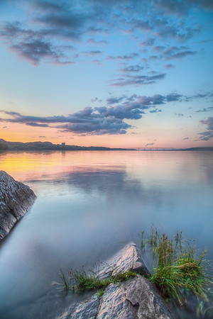 Sunset on Hudson River near Kingston Point Beach, Kingston, New York, USA