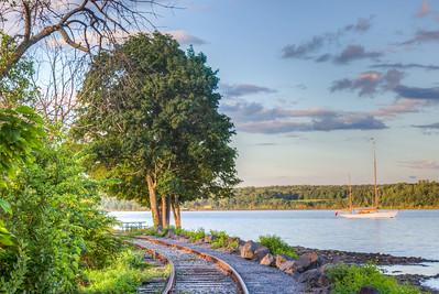 Tracks and Boat at Kingston Point Park along Hudson River, Kingston, New York, USA
